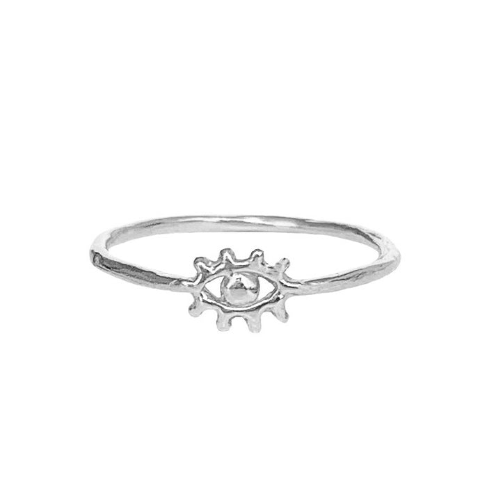 Tiny Silver Eye of Protection Ring - Blooming Lotus Jewelry