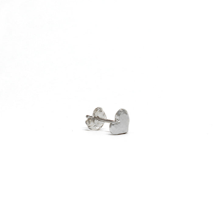 Tiny Heart Single Stud silver side view Blooming Lotus Jewelry