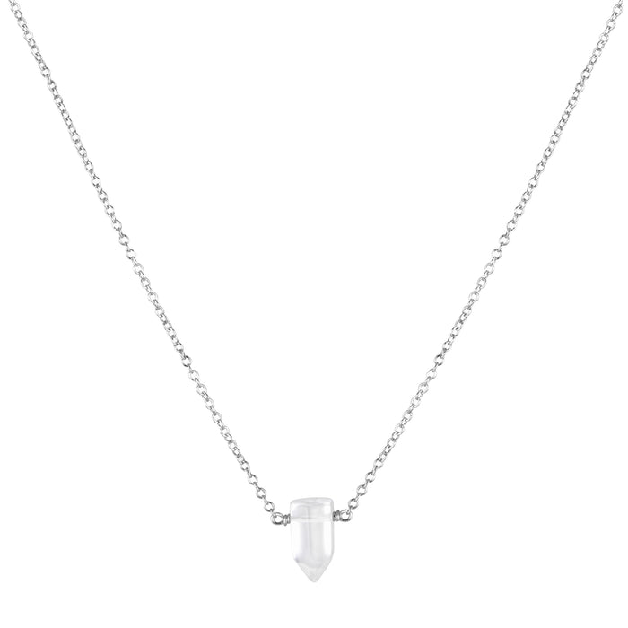 Tiny Master Healer Clear Quartz Necklace - silver - Blooming Lotus Jewelry