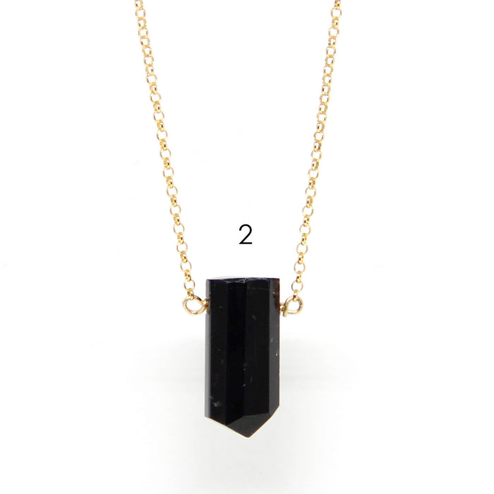Black Tourmaline Point Necklace | Sterling or Gold