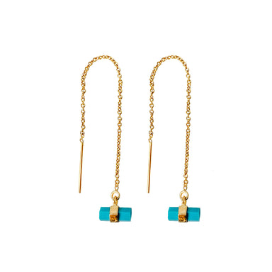 Turquoise Threader Earrings | Gold