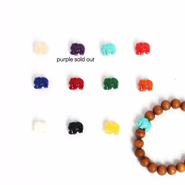 Lucky Elephant Wrist Mala - Sandalwood (color choices) - Blooming Lotus Jewelry