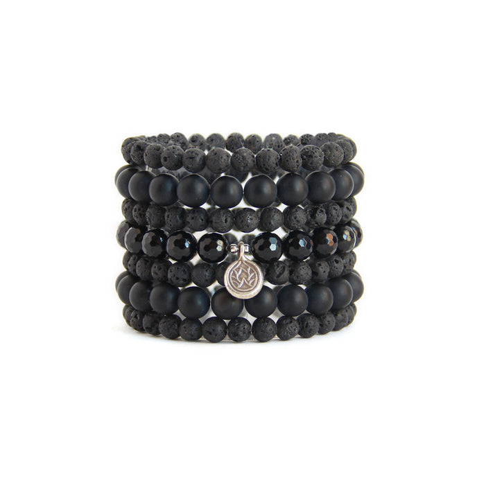 Black Lotus Stack - Blooming Lotus Jewelry