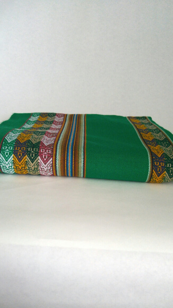 "Handwoven Blanket- Grass Green 48"" x 82"""
