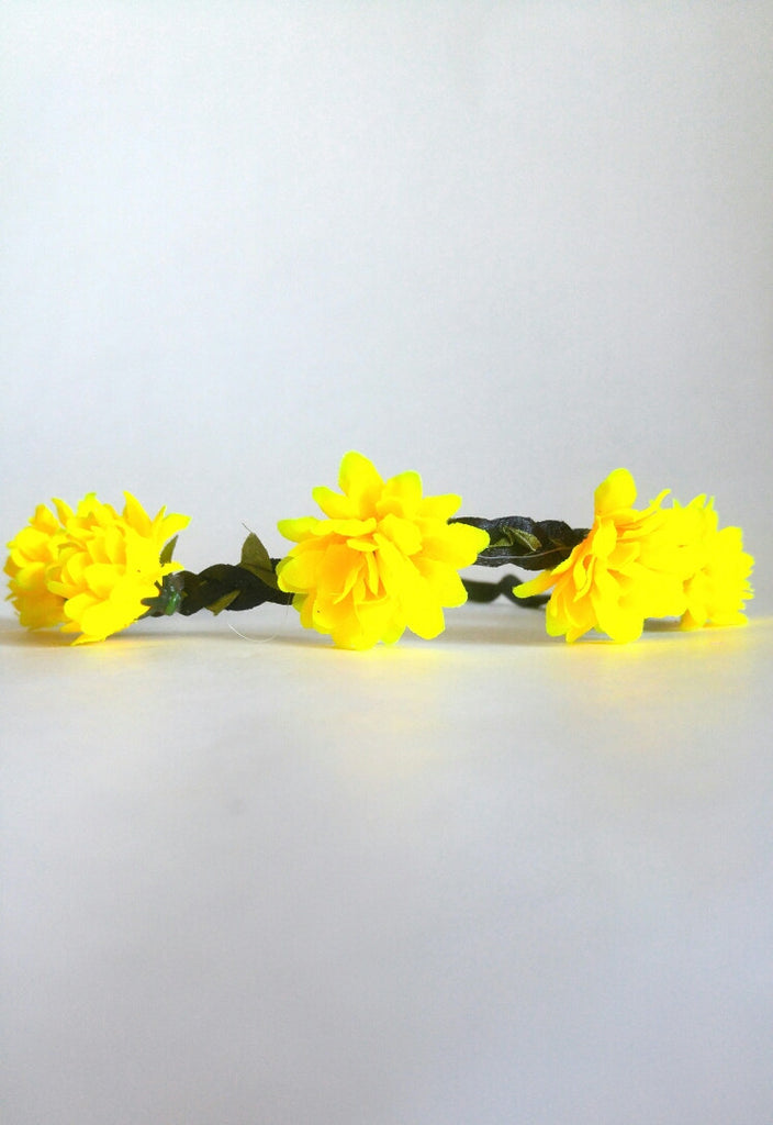 Floral Headband- Yellow