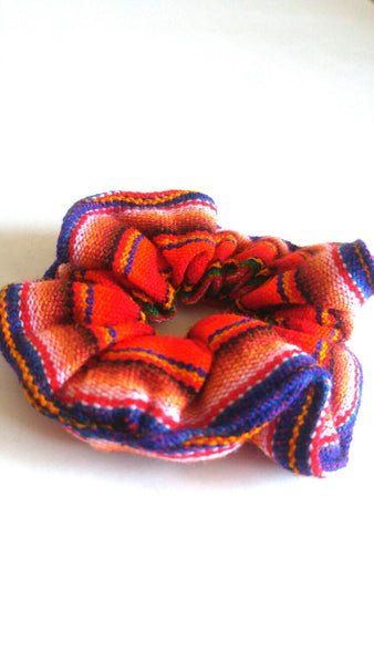 Hair Scrunchie- Red and Blue