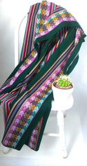 "Handwoven Blanket- Forest Green 48"" x 82"""