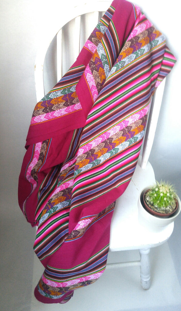 "Handwoven Blanket- Berry Pink 48"" x 82"""