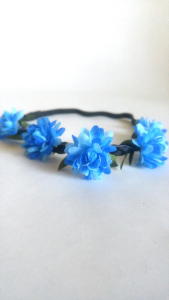 Floral Headband- Bright Blue