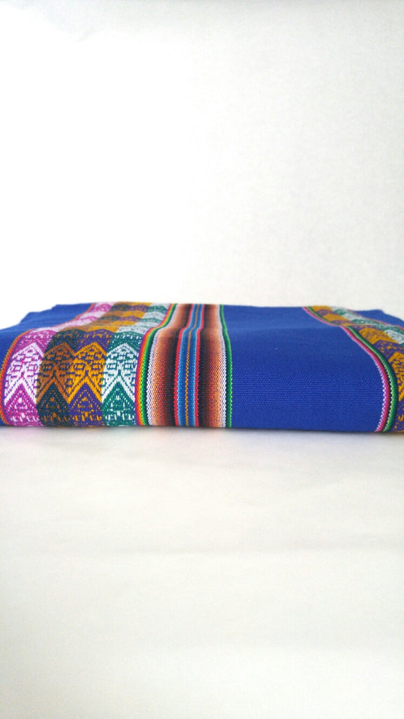 "Handwoven Blanket- Striking Blue 48"" x 82"""