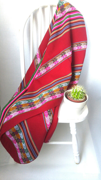 "Handwoven Blanket- Cherry Red 48"" x 82"""