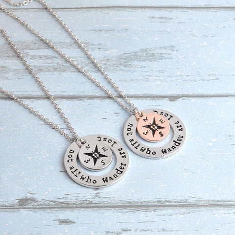 "AdventuReady Store Wanderlust "" Not All Who Wander Are Lost"" Necklace"