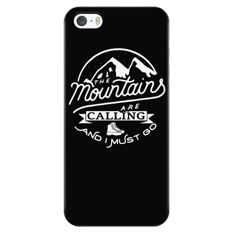 teelaunch Phone Cases iPhone 5/5s The Mountains Are Calling And I Must Go - Black iPhone Case