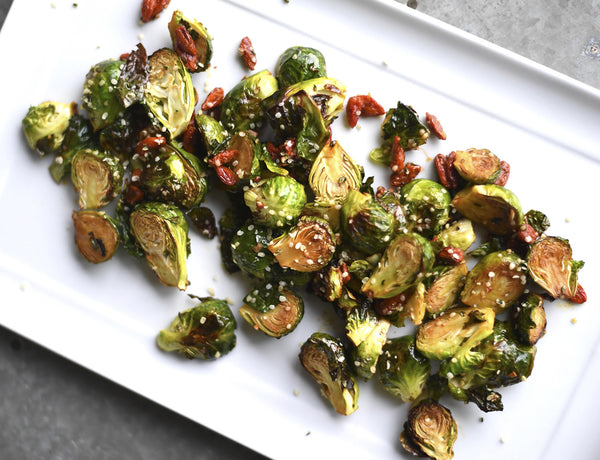 Roasted Brussel Sprouts in a Wolfberry Vinaigrette Reduction