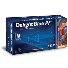 Delight Blue Vinyl Gloves Powder Free (100)