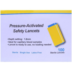 Apollo Pressure-Activated Safety Lancets 1.8mm/28 Gauge (100)