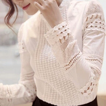 Women's Long-Sleeved Slim Hollow Lace Blouse - Fantastic Fashion