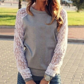 Solid Lace Blouse Shirt Top - Fantastic Fashion