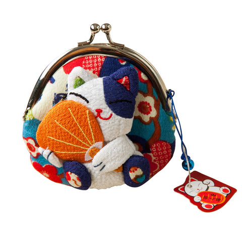 1 pc Japanese style,Lucky cat coin purse,coin bags,Zero Wallet,Japanese kimono fabric coin bag 8 styles monederos