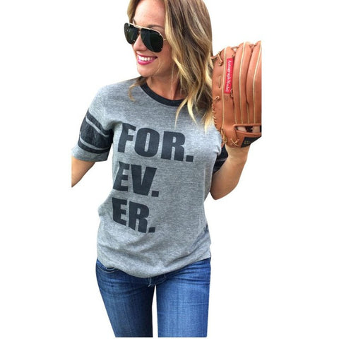 2017 Summer New Shirt Women Forever Letter Printing Short Sleeve Tops T Shirt punk Gray tee shirt sexy femme - Fantastic Fashion