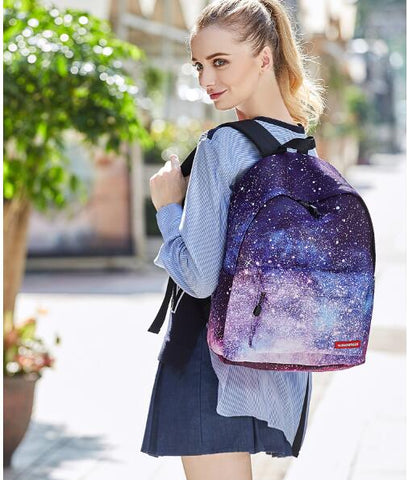 1 piece Space Galaxy Star Universe Teenage Girls Women Backpack Stylish School Bag Mochila + 1 free PC comestic pen bag