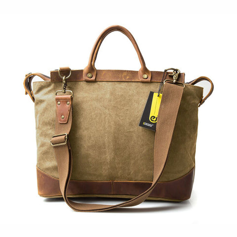 Canvas Laptop Briefcase Bag Computer Bag Hiking Bag Camping Bag Weekend Bag Fits Most 15.6 inch Laptop - Fantastic Fashion