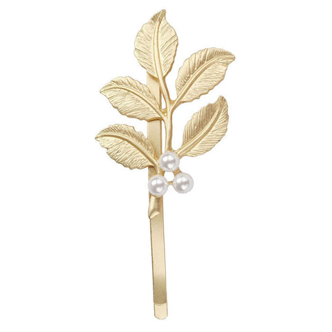 Lovely Pearl Embellishment Hair Clip Accessories Gold Leaves Hairpin - Fantastic Fashion