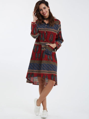 Ethnic Lapel Geometric A-Line Day Dress