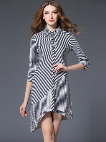 Asym Striped Shirt Women's Day Dress - Fantastic Fashion