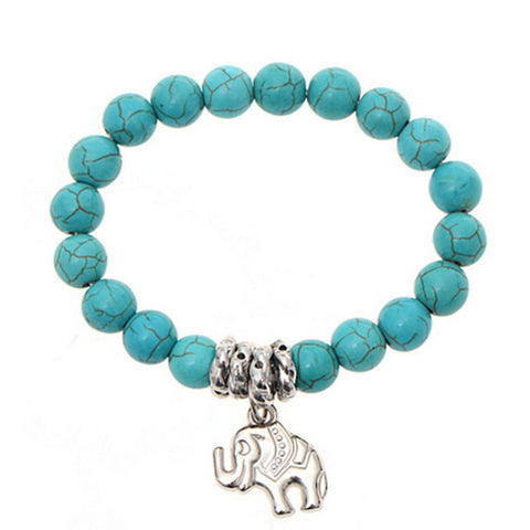 Turquoise Beads Elephant Bracelet Handmade Accessories Fashion Jewelry - Fantastic Fashion