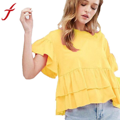 2017 New Arrival Women Blouse Shirt Petal Short Sleeve Ruched Casual Yellow Loose O-Neck Shirt Women Shirt Tops Tees