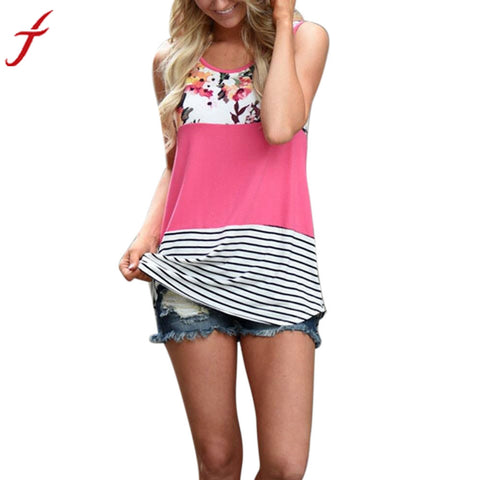 2017 Fashion Summer Tops Women Floral Print Lace Patchwork Tank Top Vintage Casual Sleeveless T-shirt