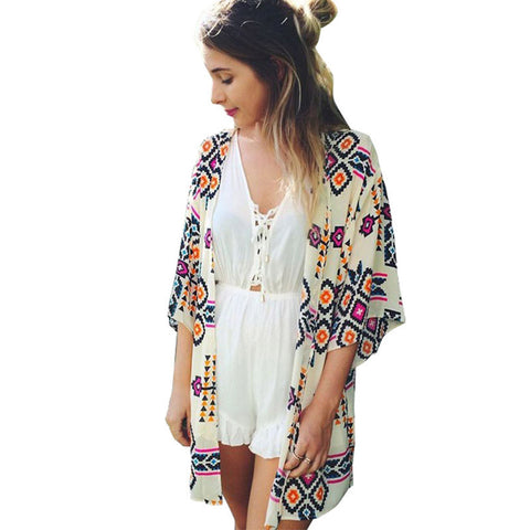 2017 Women Geometry Printed Chiffon Tops Beachwear  Bikini Cover up