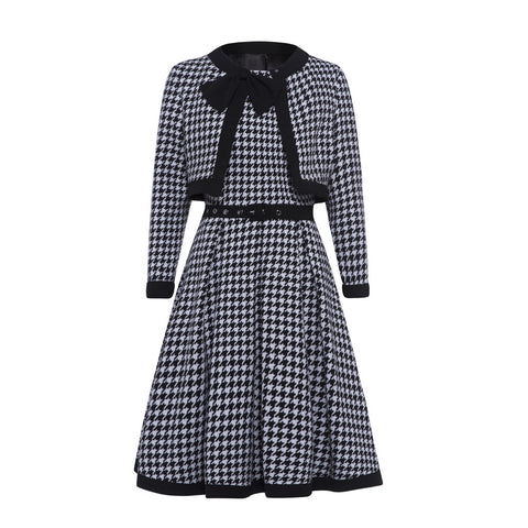 Black Plaid Evening Style A-line Dress