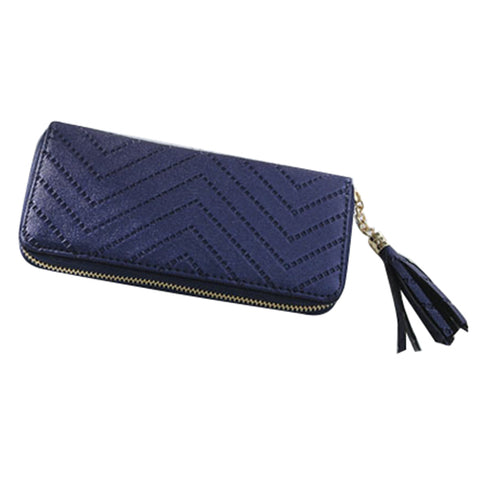 1 pcs PU leather ladies long section zipper tassel wallet /mobile phone bag/clutch bag/coin bag 19.5 * 9.5 * 2cm dark blue