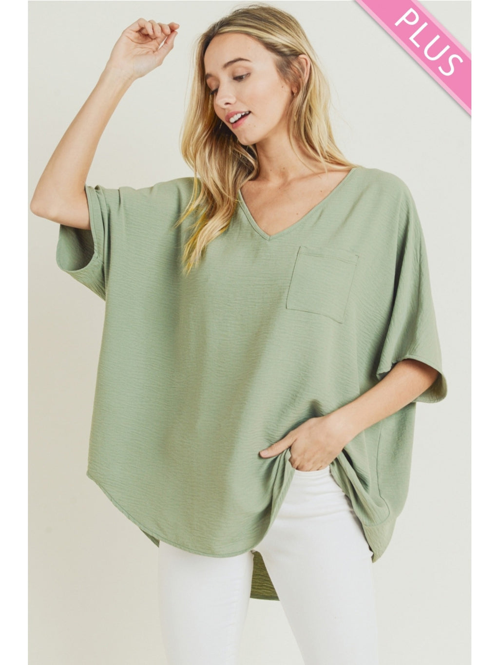 Wide V Neck Dolman Top