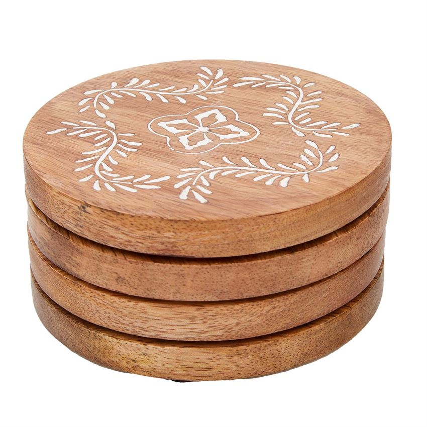 Carved Wood Coaster Set