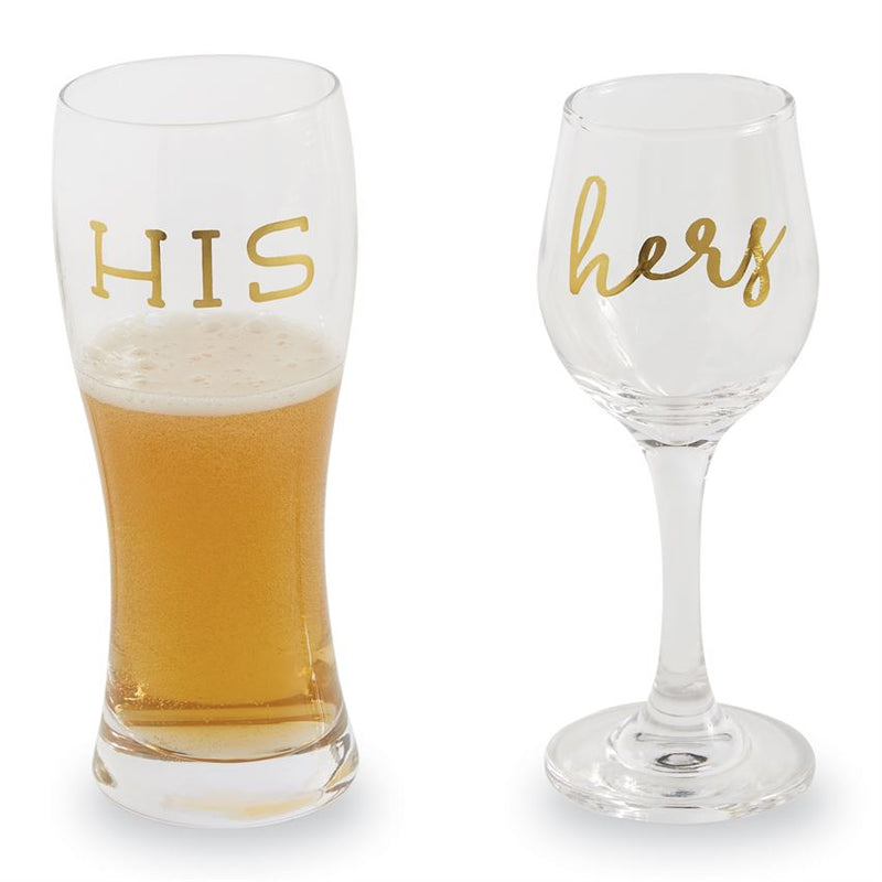 His/Hers Beer and Wine Glass