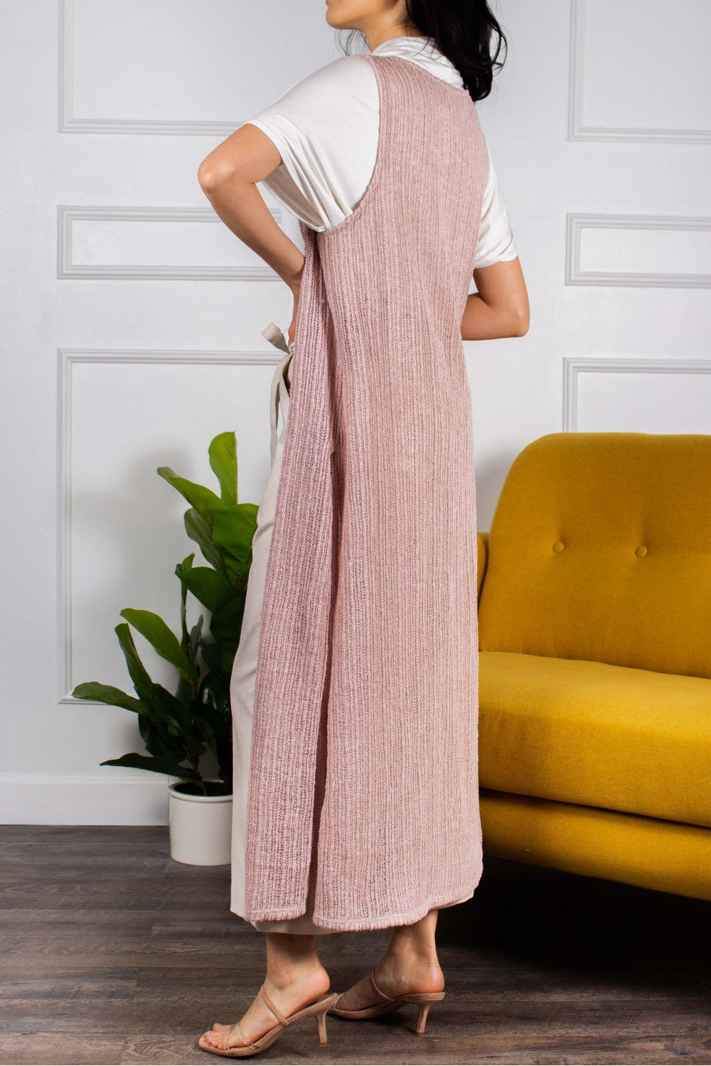 Ribbed Sleeveless Duster
