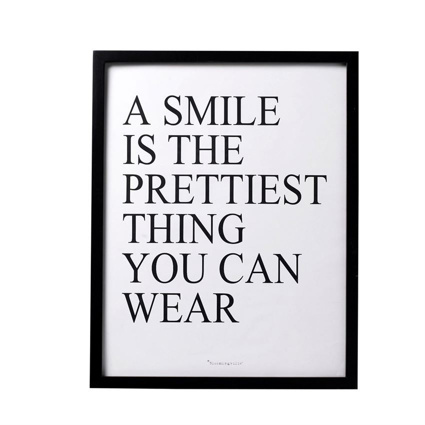 """A Smile Is"" Wood Framed Wall Decor"