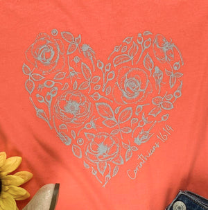 Corinthians 16:14 Rose Heart Coral Short Sleeve Graphic Tee