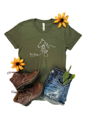 She is Strong Horse Army Green Short Sleeve Graphic Tee