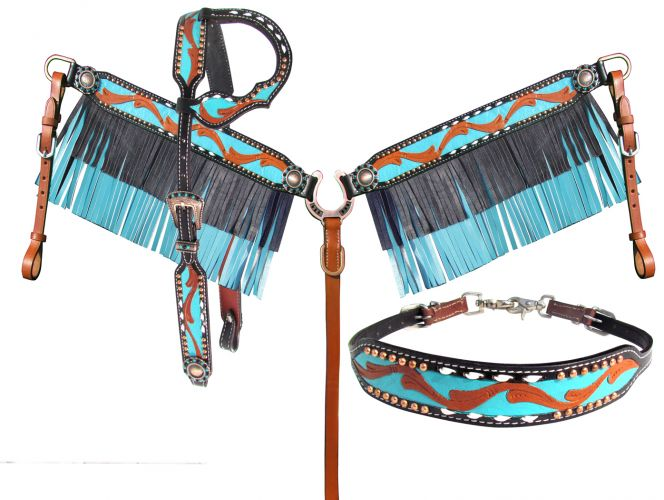 LIMITED EDITION Teal & Black Headstall Set