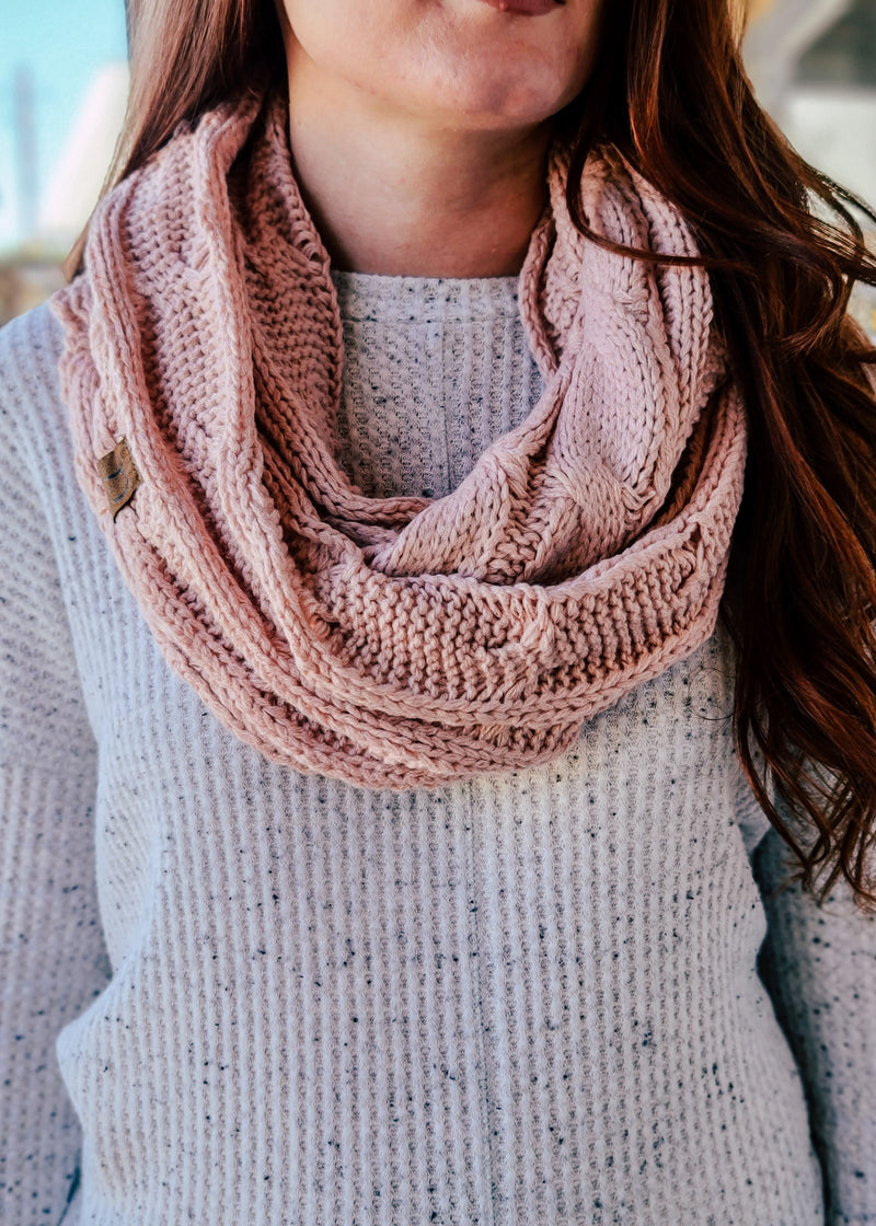 Light Pink Cable Knit Infinity Scarf on model