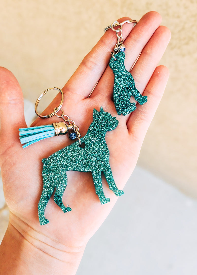Teal Boxer & Baby Keychain