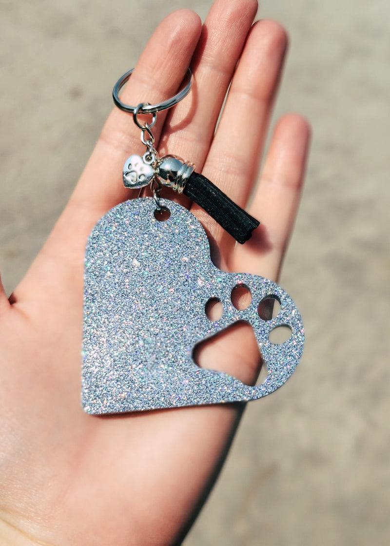 Holographic Silver Paw Print Heart Keychain