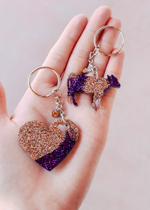 Purple & Champagne Heart & Cow Mini (Set of 2) Keychain