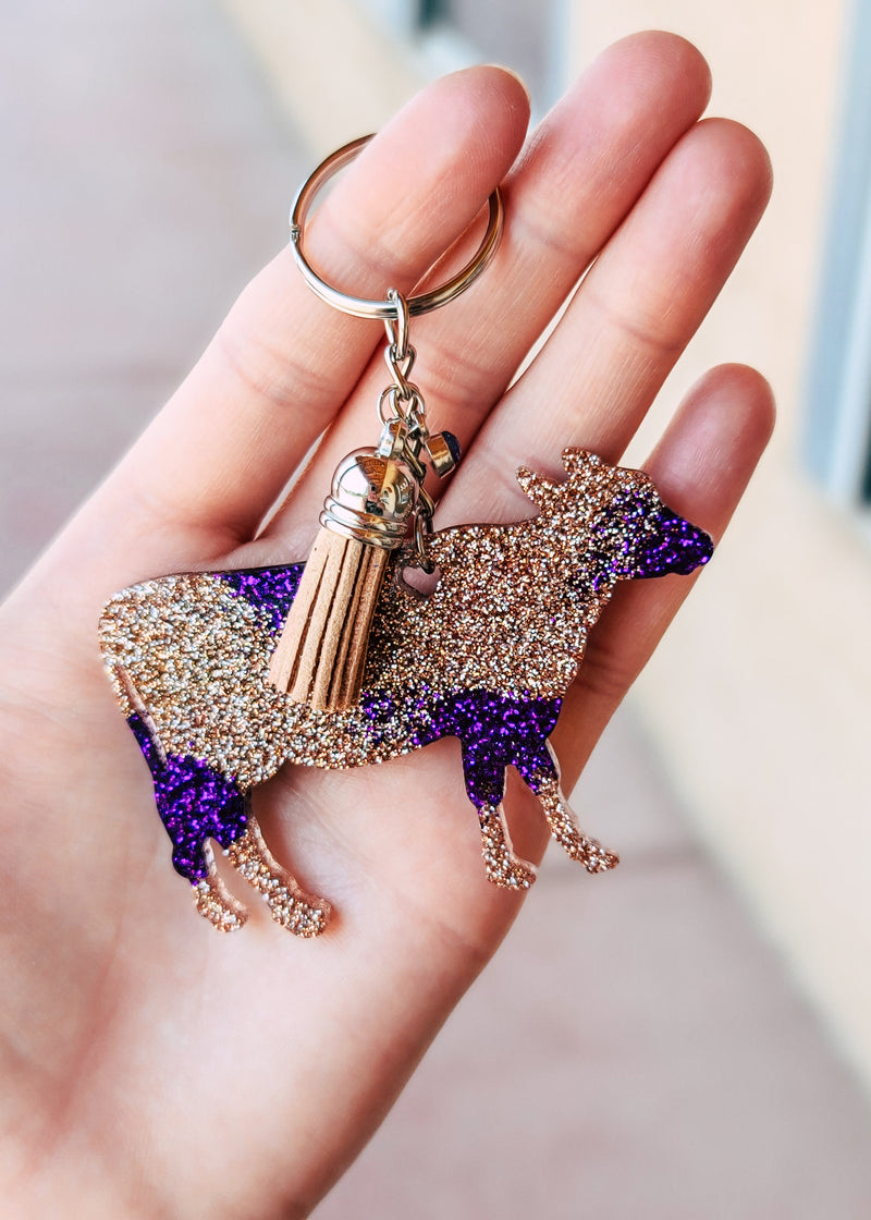 Purple & Champagne Cow Keychain