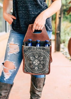Boho Canvas 6 Bottle/Can Caddy with model, outside