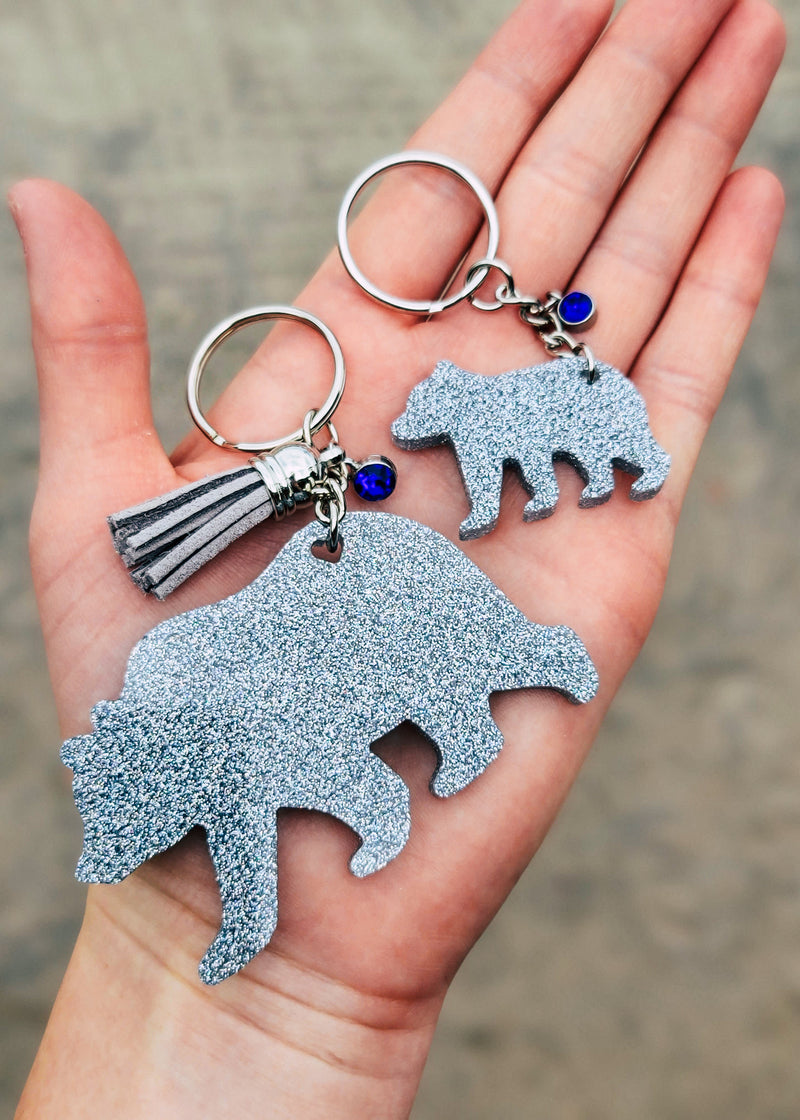 Holographic Silver Bear & Baby (Set of 2) Keychain